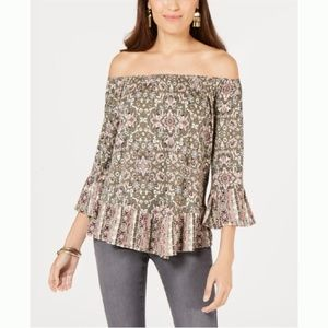 Style & Co Printed Off-the-Shoulder Top